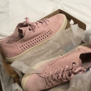 Lenox pale pink deconstructed suede/woven panel
